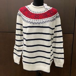 Land's End Roll Neck Cream Sweater red & blue 1X